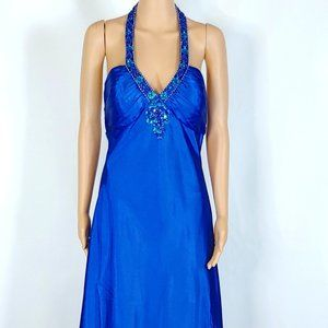 NWT Faviana Royal Blue Halter Top Formal Gown